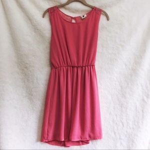 one clothing Pink Back Lace Sleeveless Flow Dress